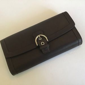 Vintage Coach Leather Wallet with Buckle Feature.